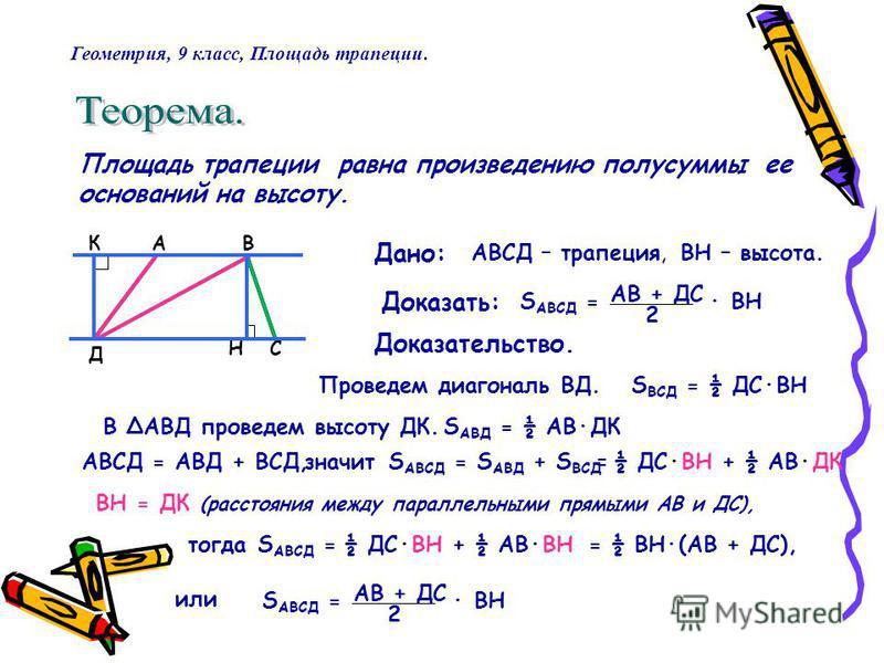 Площадь трапеции равна произведению полусуммы ее оснований на высоту. Дано: Доказать: Доказательство. АВ СН Д К АВСД – трапеция, S АВСД = АВ + ДС 2 ВН – высота. · ВН Проведем диагональ ВД. АВСД = АВД + ВСД,значитS АВСД = S АВД + S ВСД S ВСД = ½ ДС·ВН