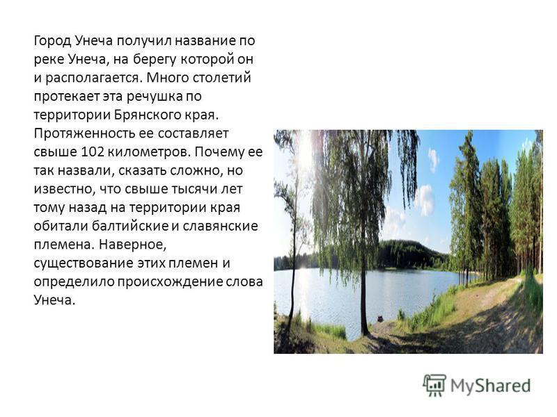 Город Унеча получил название по реке Унеча, на берегу которой он и располагается. Много столетий протекает эта речушка по территории Брянского края. Протяженность ее составляет свыше 102 километров. Почему ее так назвали, сказать сложно, но известно,
