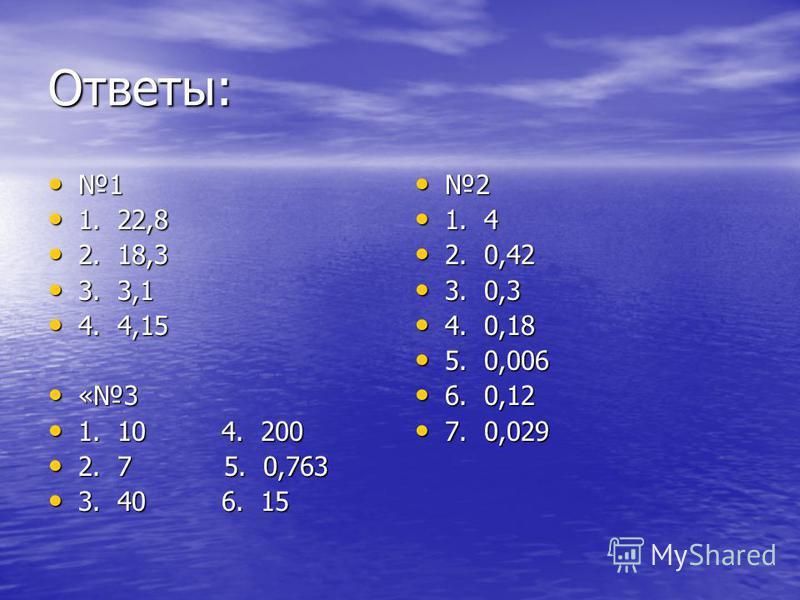 Ответы: 1 1. 22,8 1. 22,8 2. 18,3 2. 18,3 3. 3,1 3. 3,1 4. 4,15 4. 4,15 «3 «3 1. 10 4. 200 1. 10 4. 200 2. 7 5. 0,763 2. 7 5. 0,763 3. 40 6. 15 3. 40 6. 15 2 1. 4 1. 4 2. 0,42 2. 0,42 3. 0,3 3. 0,3 4. 0,18 4. 0,18 5. 0,006 5. 0,006 6. 0,12 6. 0,12 7.