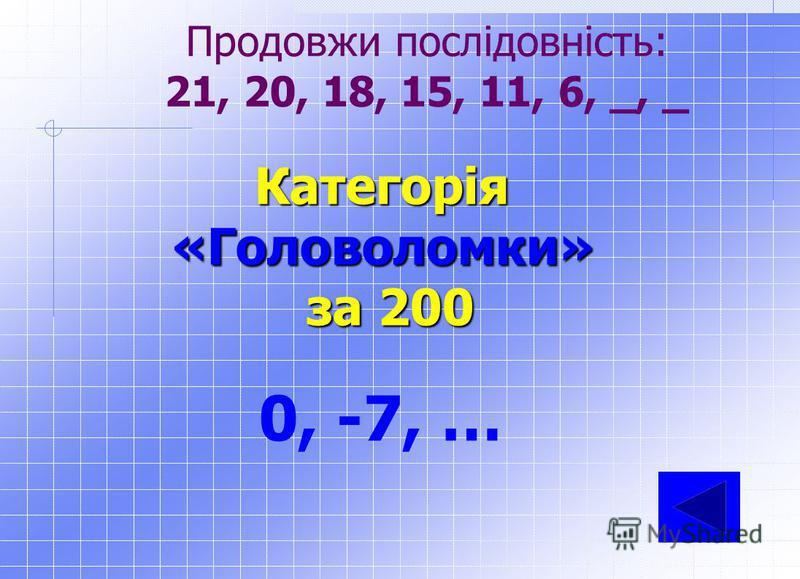 Категорія«Головоломки» за 100 21, 34, 55 Продовжи послідовність: 3, 5, 8, 13, __