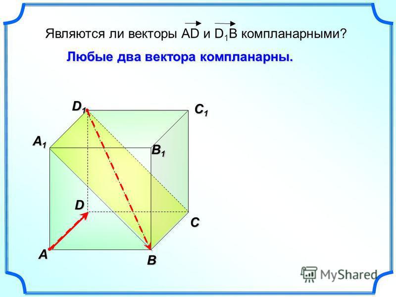 A B C A1A1A1A1 B1B1B1B1 C1C1C1C1 D1D1D1D1 D Являются ли векторы AD и D 1 B компланарныеееййййми? Любые два вектора компланарныееейййй.