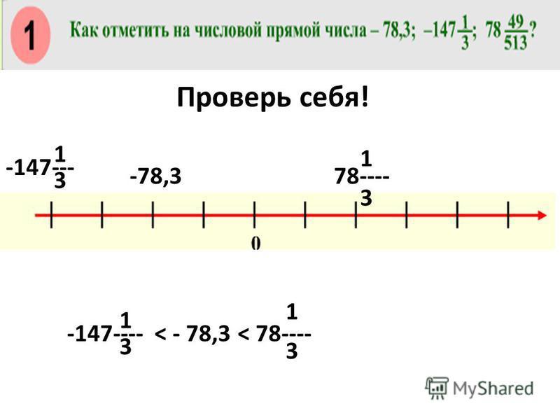 -78,3 -147---- 3 1 3 1 3 1 -147--- 78---- 3 1 < - 78,3< 78---- Проверь себя!