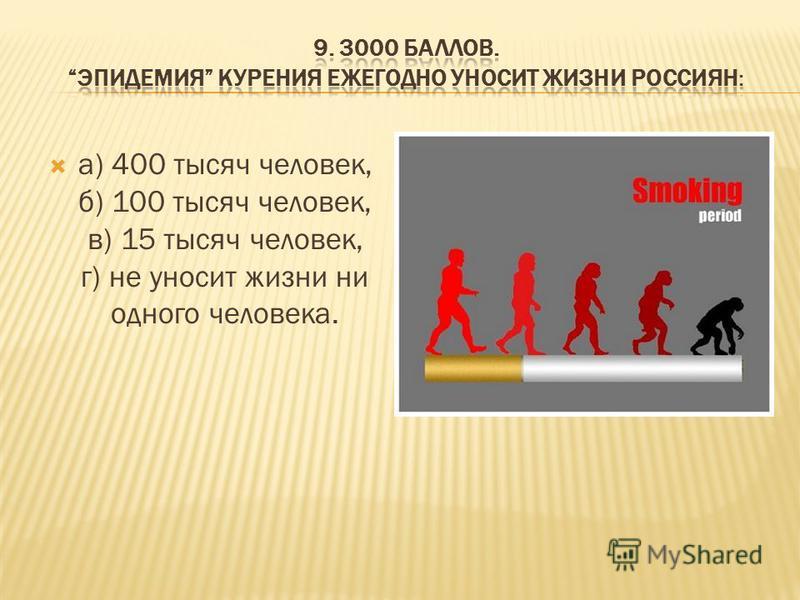 а) 400 тысяч человек, б) 100 тысяч человек, в) 15 тысяч человек, г) не уносит жизни ни одного человека.