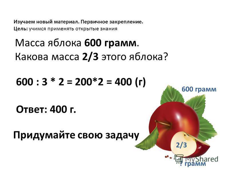 Масса яблока 600 грамм. Какова масса 2/3 этого яблока? 600 : 3 * 2 = 200*2 = 400 (г) Ответ: 400 г. Изучаем новый материал. Первичное закрепление. Цель: учимся применять открытые знания Придумайте свою задачу 600 грамм 2/3 ? грамм