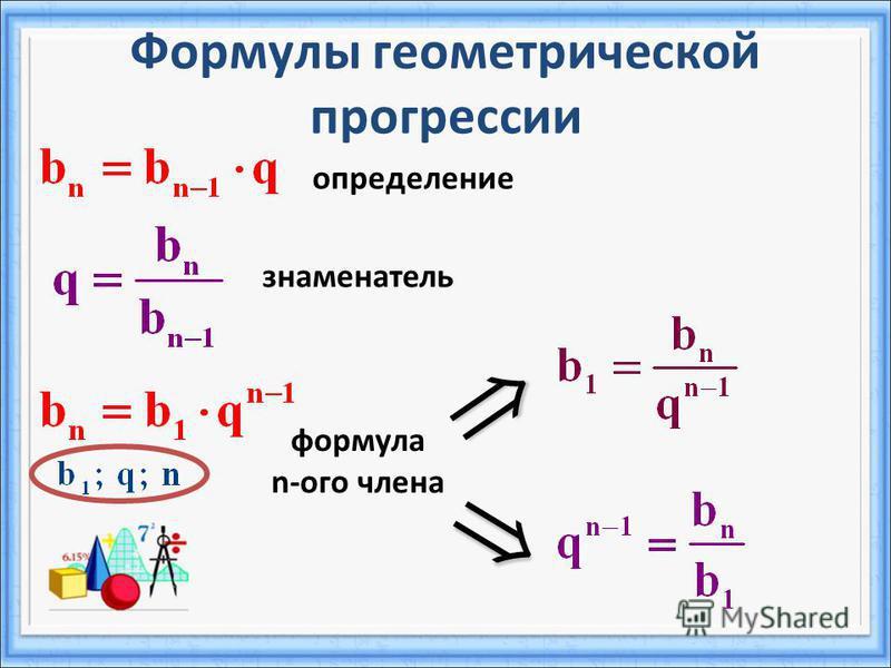 Формулы геометрической прогрессии определение знаменатель формула n-ого члена