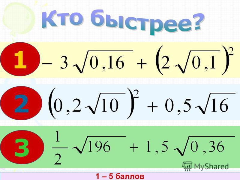 1)х 2 = 0,36; 2)х 2 = 15; 3)х 2 = – 0,64. 5 баллов; 3 человека – дополнительные баллы