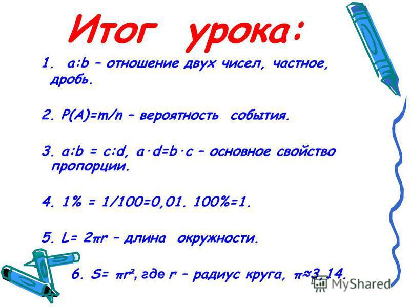 Итог урока: 1. a:b – отношение двух чисел, частное, дробь. 2. P(A)=m/n – вероятность события. 3. a:b = с:d, a·d=b·c – основное свойство пропорции. 4. 1% = 1/100=0,01. 100%=1. 5. L= 2πr – длина окружности. 6. S= πr ², где r – радиус круга, π3,14.