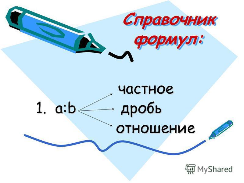 Справочник формул: частное частное 1. a:b дробь 1. a:b дробь отношение отношение