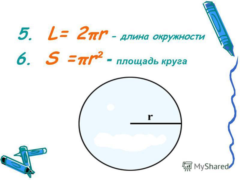5. L= 2πr - длина окружности 6. S =πr ² - площадь круга