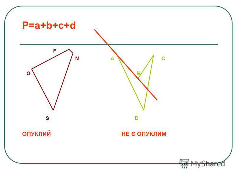 ЧОТИРИКУТНИК Фігура, яка складається з чотирьох точок (вершин чотирикутника) і чотирьох відрізків, що їх послідовно сполучають (сторін чотирикутника). При цьому жодні 3 вершини не лежать на одній прямій, а жодні дві сторони не перетинаються Діагональ