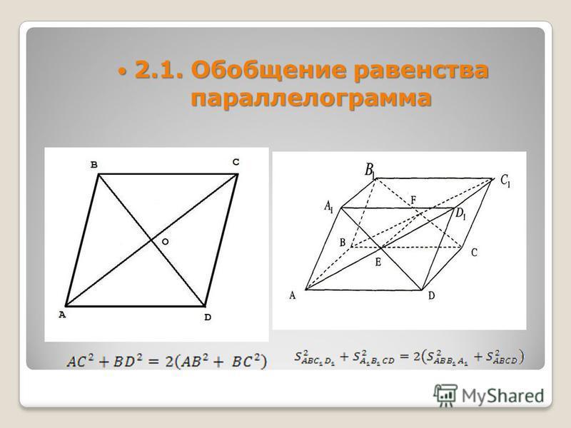 2.1. Обобщение равенства параллелограмма 2.1. Обобщение равенства параллелограмма