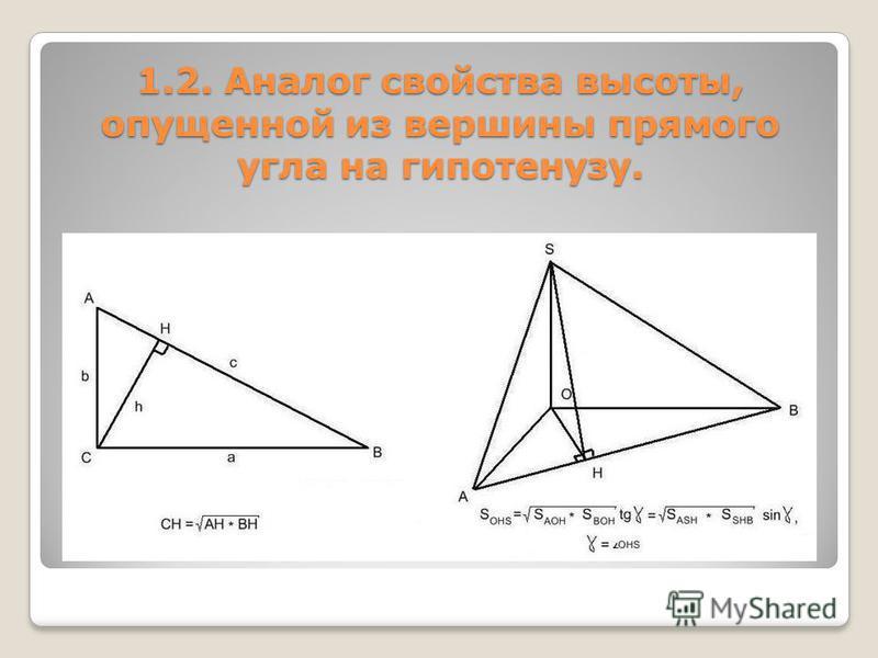 1.2. Аналог свойства высоты, опущенной из вершины прямого угла на гипотенузу.