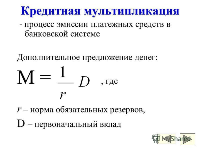 - процесс эмиссии платежных средств в банковской системе Дополнительное предложение денег: M =, где r – норма обязательных резервов, D – первоначальный вклад Кредитная мультипликация