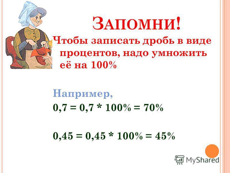 З АПОМНИ ! Чтобы записать дробь в виде процентов, надо умножить её на 100% Например, 0,7 = 0,7 * 100% = 70% 0,45 = 0,45 * 100% = 45%