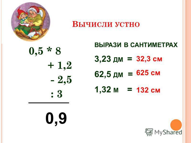 В ЫЧИСЛИ УСТНО 0,5 * 8 + 1,2 - 2,5 : 3 ВЫРАЗИ В САНТИМЕТРАХ 3,23 ДМ = 62,5 ДМ = 1,32 М = 32,3 см 625 см 132 см 0,9