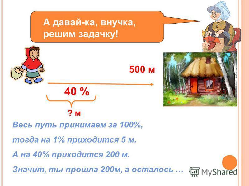 А давай-ка, внучка, решим задачку! 500 м 40 % ? м Весь путь принимаем за 100%, тогда на 1% приходится 5 м. А на 40% приходится 200 м. Значит, ты прошла 200 м, а осталось …
