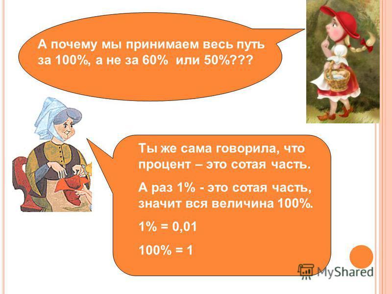 А почему мы принимаем весь путь за 100%, а не за 60% или 50%??? Ты же сама говорила, что процент – это сотая часть. А раз 1% - это сотая часть, значит вся величина 100%. 1% = 0,01 100% = 1