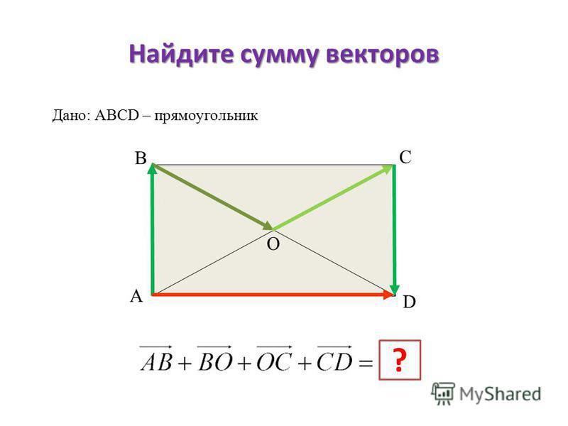 Найдите сумму векторов А В С D ? Дано: АВСD – прямоугольник О