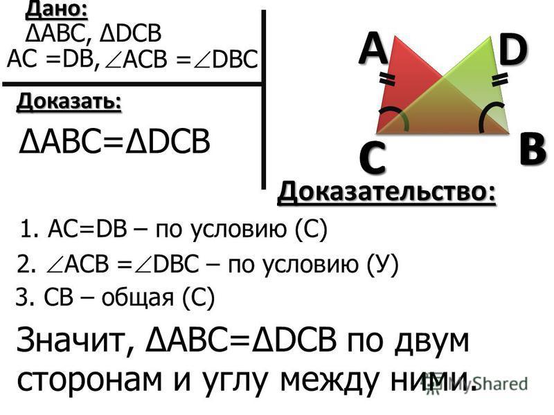 AB C DC B Дано: АВС, DCB АС =DB, АСВ = DBС Доказать: 1. АС=DB – по условию (С) Доказательство: 2. АСВ = DBС – по условию (У) 3. СВ – общая (С) АВС=DCB Значит, АВС=DCB по двум сторонам и углу между ними.