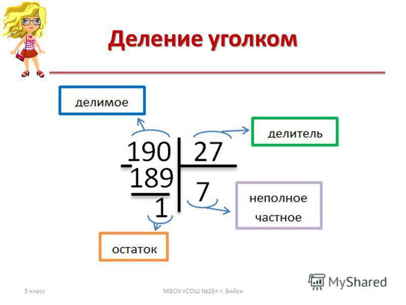 Деление уголком 5 классМБОУ «СОШ 25» г. Бийск