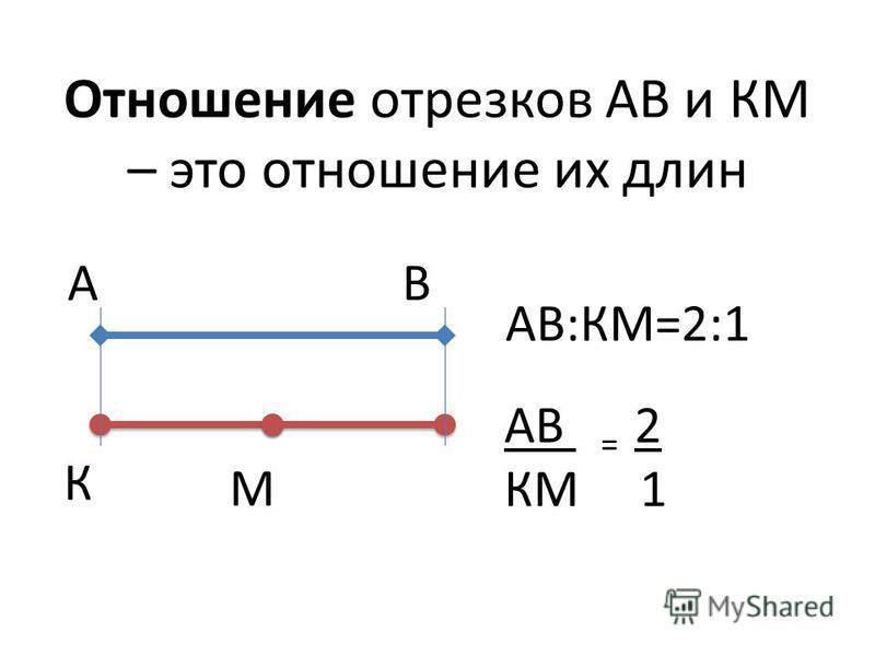 Отношение отрезков АВ и КМ – это отношение их длин АВ К М АВ:КМ=2:1 АВ = 2 КМ 1