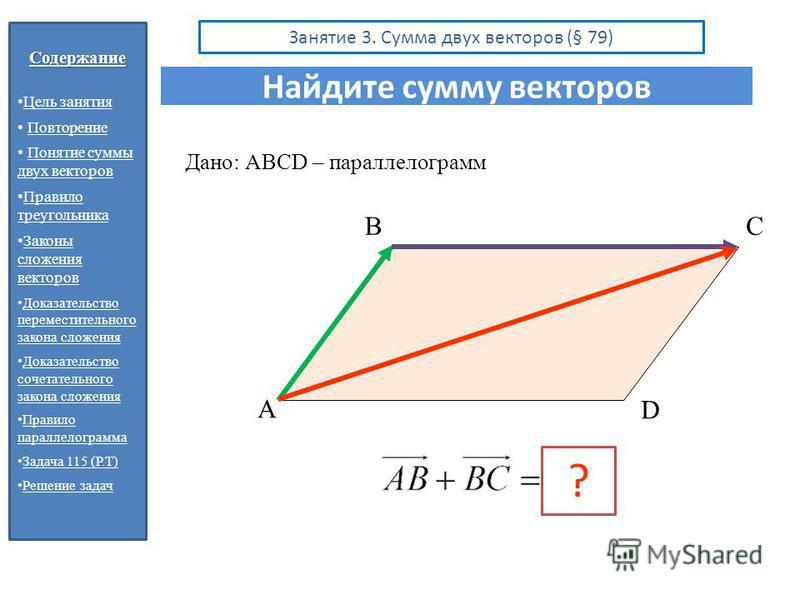 Содержание Цель занятия Повторение Понятие суммы двух векторов Понятие суммы двух векторов Правило треугольника Правило треугольника Законы сложения векторов Законы сложения векторов Доказательство переместительного закона сложения Доказательство пер