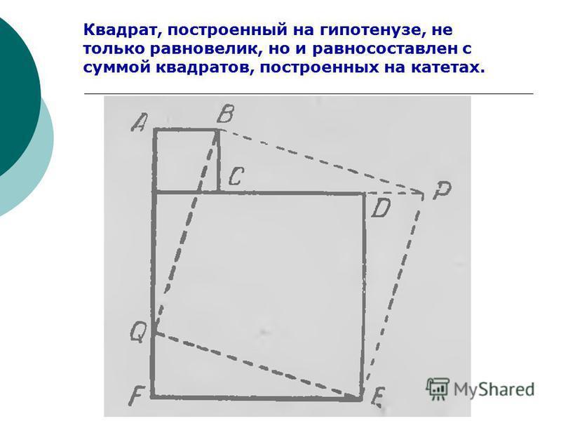 Квадрат, построенный на гипотенузе, не только равновелик, но и равно составлен с суммой квадратов, построенных на катетах.