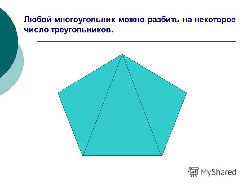 Любой многоугольник можно разбить на некоторое число треугольников.