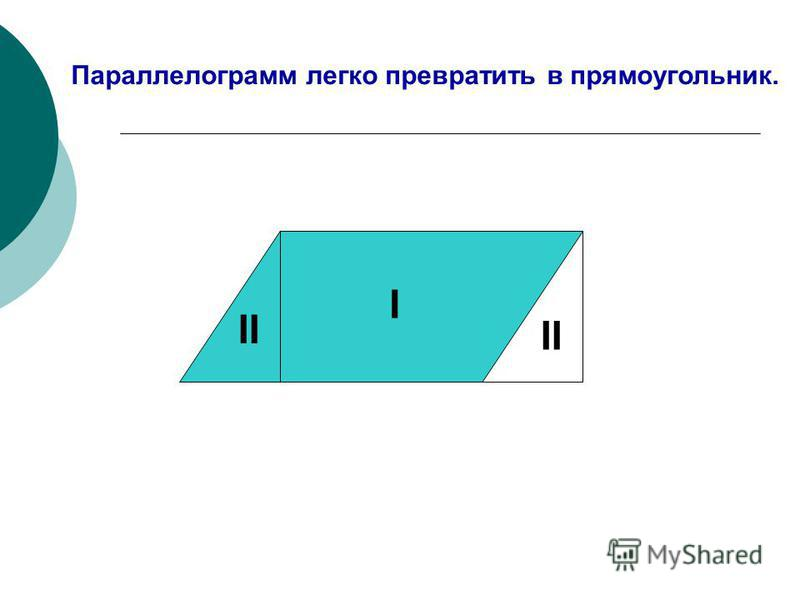 Параллелограмм легко превратить в прямоугольник. I II