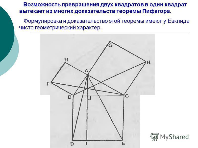 Возможность превращения двух квадратов в один квадрат вытекает из многих доказательств теоремы Пифагора. Формулировка и доказательство этой теоремы имеют у Евклида чисто геометрический характер.