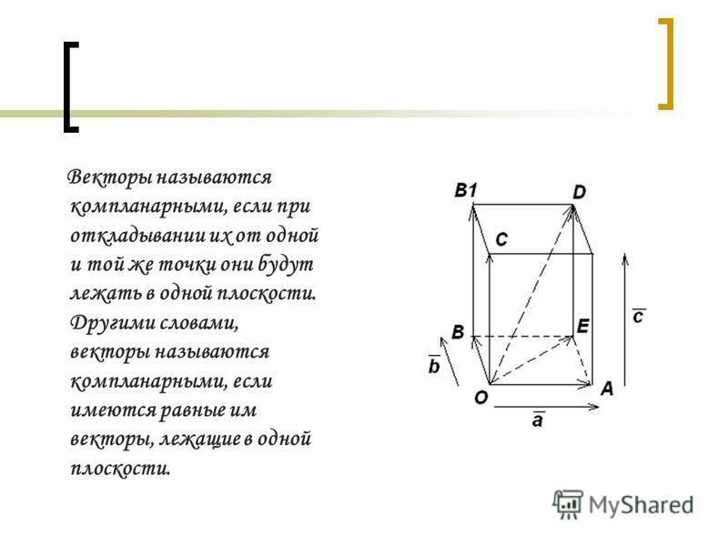 Векторы называются компланарными, если при откладывании их от одной и той же точки они будут лежать в одной плоскости. Другими словами, векторы называются компланарными, если имеются равные им векторы, лежащие в одной плоскости.