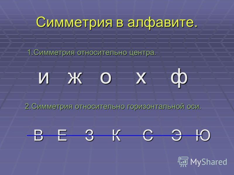 Симметрия в алфавите. 1. Симметрия относительно центра. 1. Симметрия относительно центра. и ж о х ф и ж о х ф 2. Симметрия относительно горизонтальной оси. 2. Симметрия относительно горизонтальной оси. В Е З К С Э Ю В Е З К С Э Ю