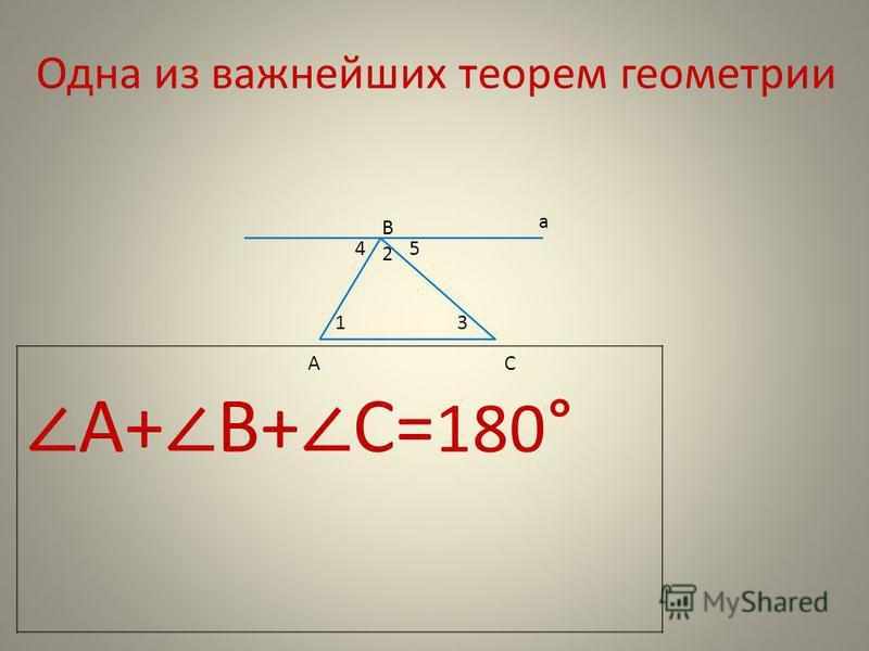 Одна из важнейших теорем геометрии В а АС 2 45 13 А+ В+ С= 180 °