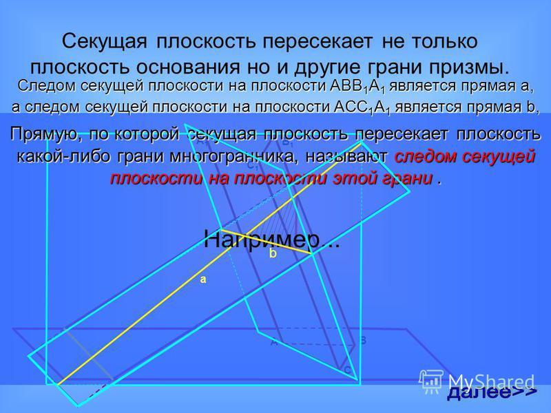 Для этого построим призму. Проведем плоскость основания призмы и секущую плоскость Прямая на плоскости основания, через которую проходит секущая плоскость называется следом секущей плоскости на плоскости основания.
