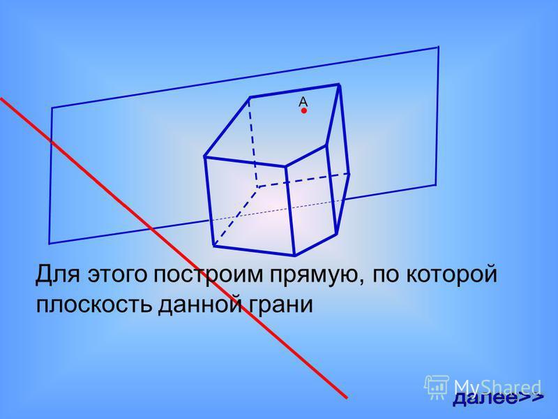 Процесс построения сечения призмы начинается следующим образом. Сначала строится отрезок, по которому сечение призмы пересекает грань, на которой находится данная точка А. А