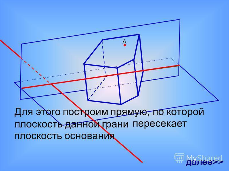 А Для этого построим прямую, по которой плоскость данной грани