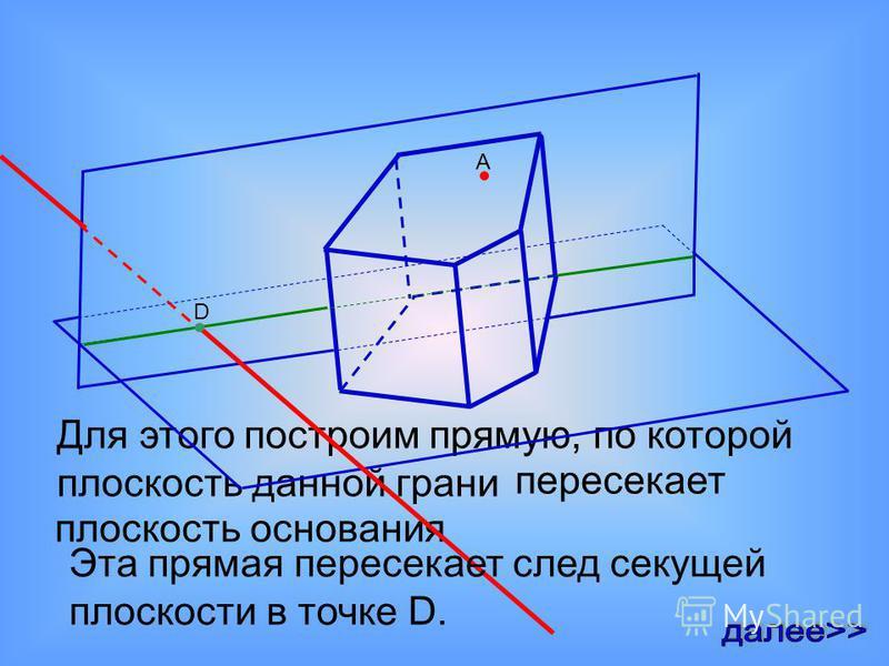 А пересекает плоскость основания Для этого построим прямую, по которой плоскость данной грани