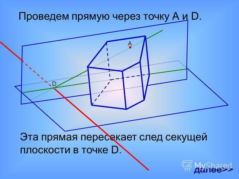 А пересекает плоскость основания D Эта прямая пересекает след секущей плоскости в точке D.