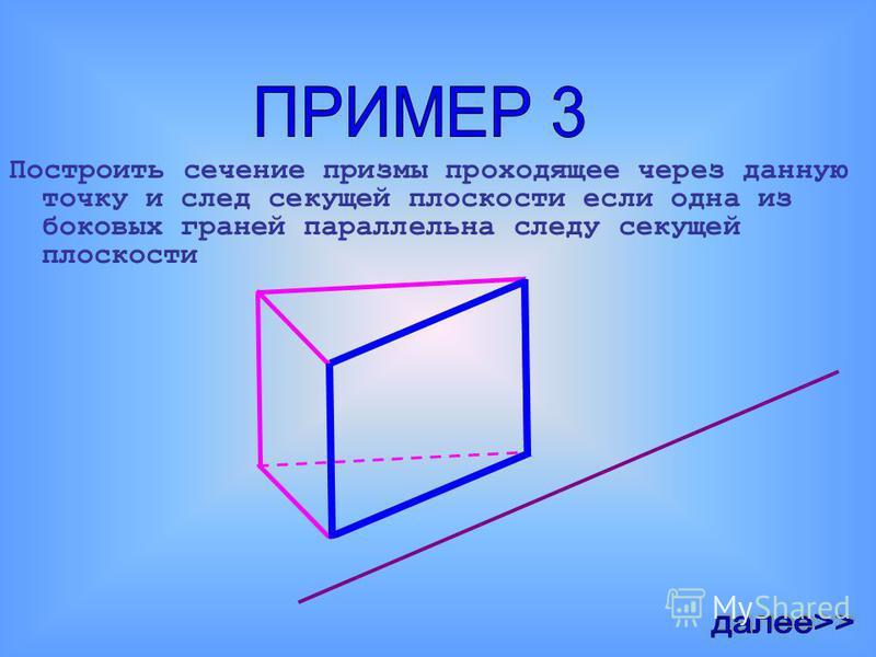 Построим призму Проведем след секущей плоскости призмы Пусть точка принадлежащая сечению находится на верхнем основании Тогда линия пересечения секущей плоскости с верхним основанием будет параллельна следу секущей плоскости Концы отрезка, пересекающ