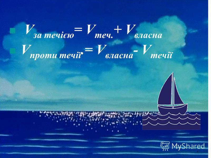 V за течією = V теч. + V власна V проти течії.= V власна - V течії 4