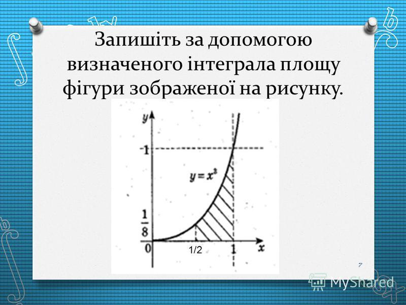 Запишіть за допомогою визначеного інтеграла площу фігури зображеної на рисунку. 7 1/2