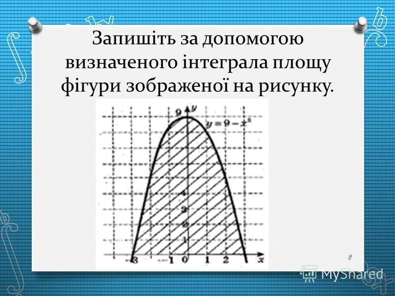 Запишіть за допомогою визначеного інтеграла площу фігури зображеної на рисунку. 8