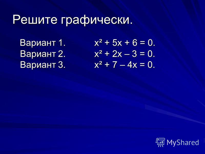 Решите графически. Вариант 1.х² + 5 х + 6 = 0. Вариант 2.х² + 2 х – 3 = 0. Вариант 3.х² + 7 – 4 х = 0. Вариант 1.х² + 5 х + 6 = 0. Вариант 2.х² + 2 х – 3 = 0. Вариант 3.х² + 7 – 4 х = 0.