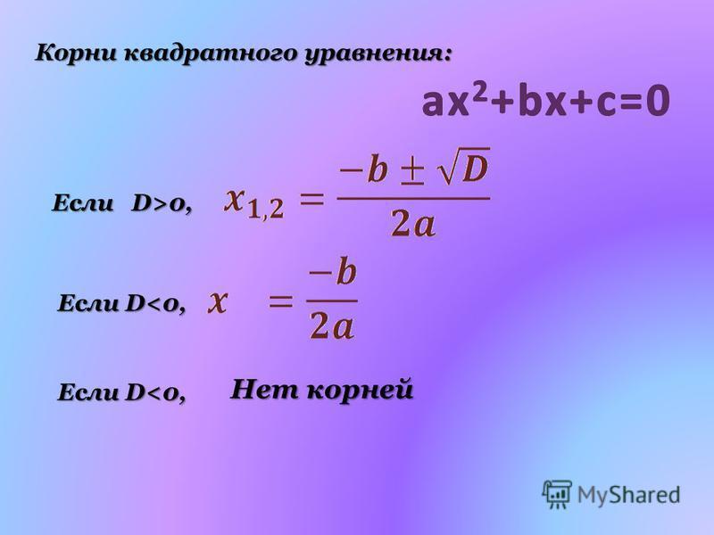Корни квадратного уравнения: Если D>0, Если D<0, Нет корней