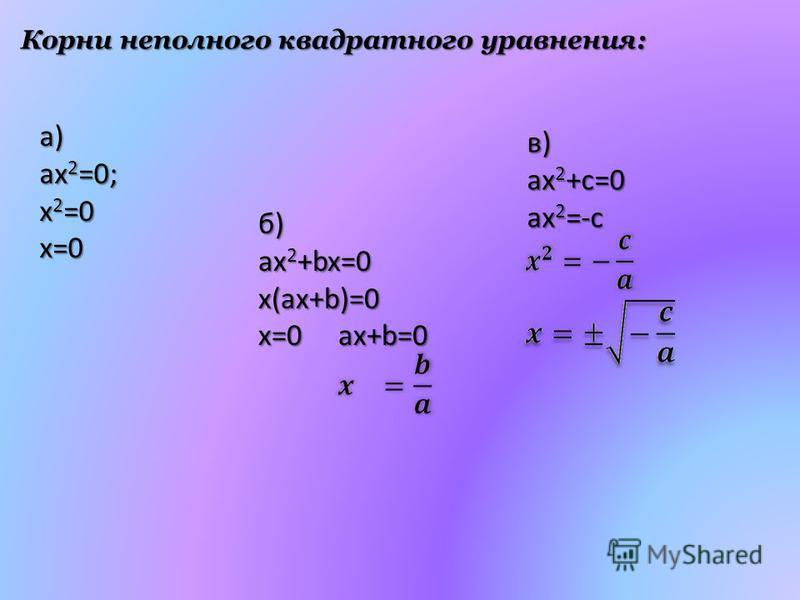 Корни неполного квадратного уравнения: в) ax 2 +c=0 ax 2 =-c a) ax2=0; x2=0 x=0 б) ax 2 +bx=0 x(ax+b)=0 x=0ax+b=0