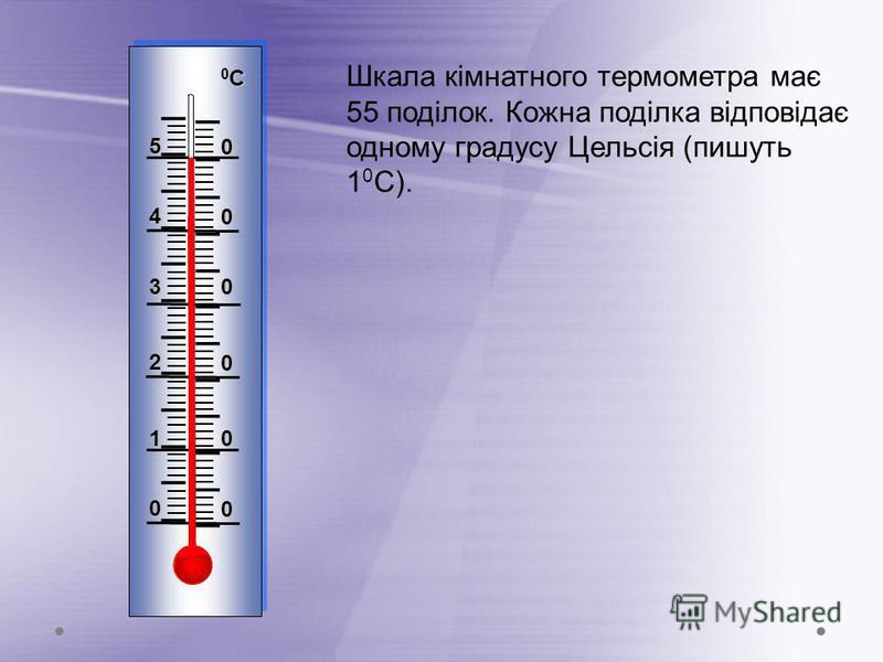 Шкала кімнатного термометра має 55 поділок. Кожна поділка відповідає одному градусу Цельсія (пишуть 1 0 С). I IIII I IIII I IIII I IIII I IIII I IIII I IIII I IIII I IIII I IIII I IIII I 0 0 1 0 2 0 3 0 4 0 5 0 0С0С0С0С