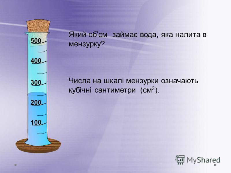 Який обєм займає вода, яка налита в мензурку? Числа на шкалі мензурки означають кубічні сантиметри (см 3 ). 100 200 300 400 500