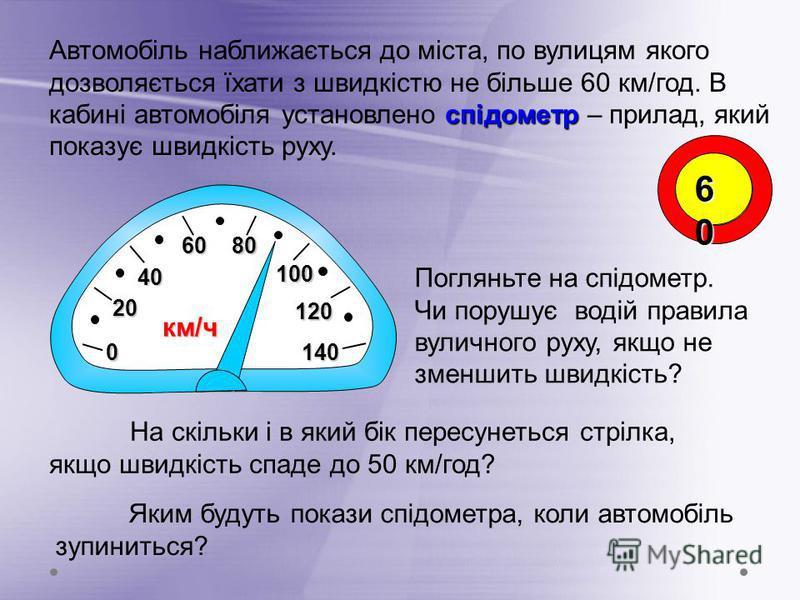 0 20202020 40404040 60606060 80808080 100 спідометр Автомобіль наближається до міста, по вулицям якого дозволяється їхати з швидкістю не більше 60 км/год. В кабині автомобіля установлено спідометр – прилад, який показує швидкість руху. Погляньте на с