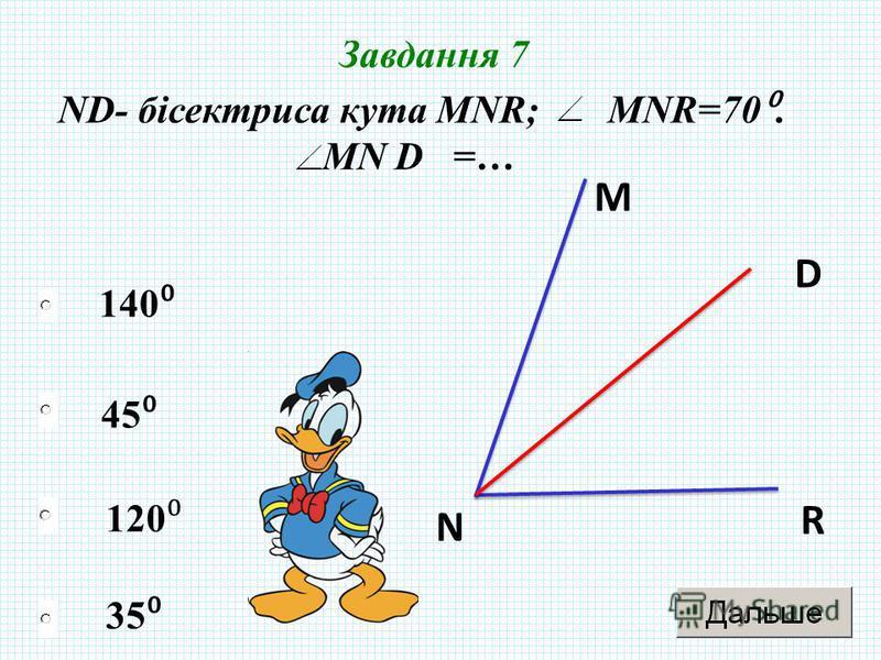 35 45 120 140 Завдання 7 ND- бісектриса кута МNR; МNR=70. MN D =… M N R D