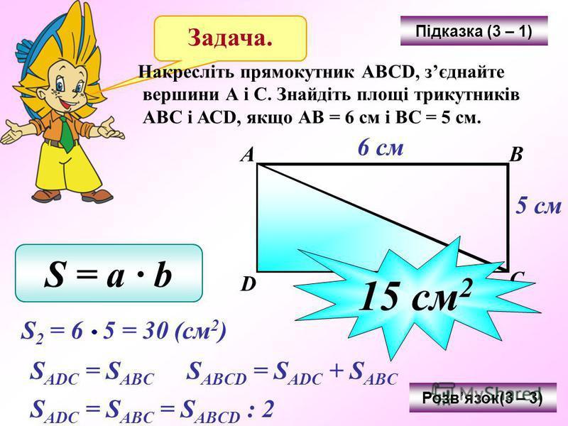Задача. Накресліть прямокутник АВСD, зєднайте вершини А і С. Знайдіть площі трикутників АВС і АСD, якщо АВ = 6 см і ВС = 5 см. Підказка (3 – 1) АВ С D 6 см 5 см S = a b Розвязок(3 – 3) S 2 = 6 5 = 30 (см 2 ) S ADC = S ABC S ABCD = S ADC + S ABC S ADC